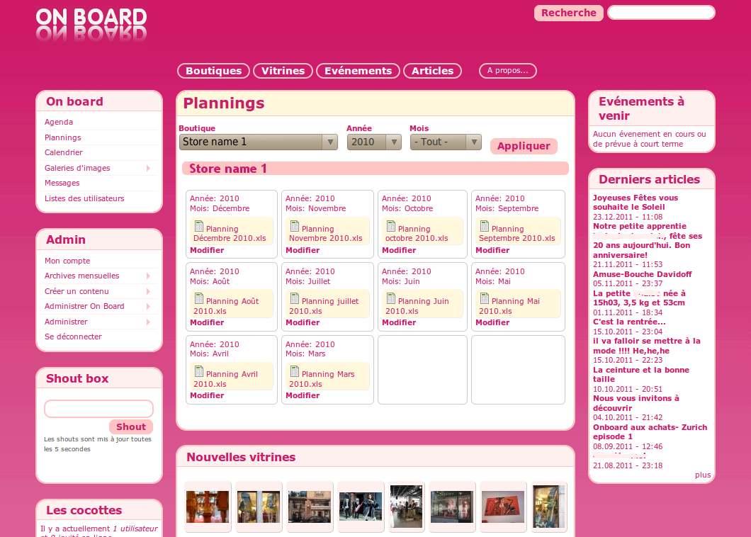 Onboard plannings page picture