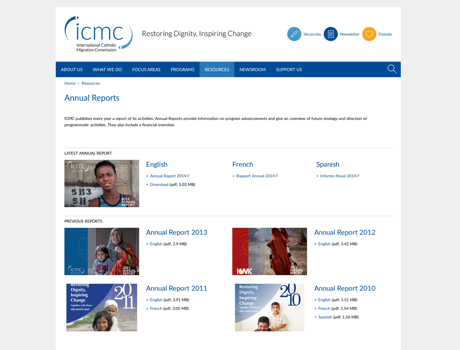 Page des rapports annuel ICMC
