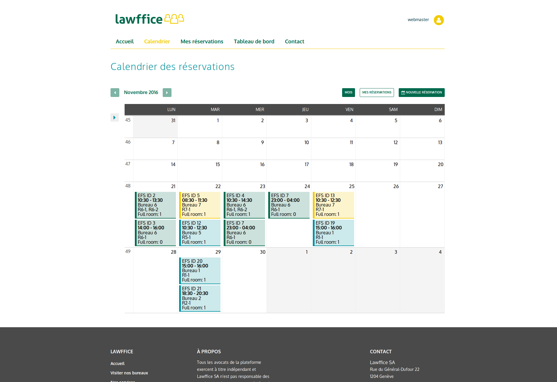 Page calendrier Lawffice